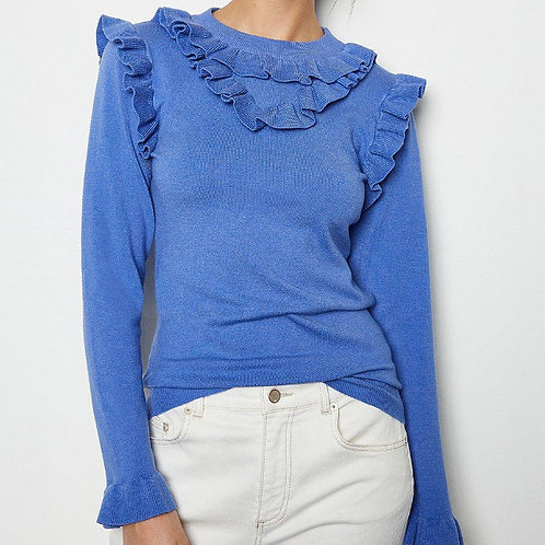 KAREN MILLEN Ruffle Collar Long Sleeve Jumper (RARE & COLLECTABLE)