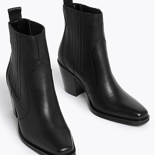 M&S COLLECTION Leather Western Block Heel Ankle Boots T02/7764