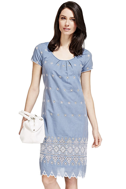 M&S PER UNA Pure Cotton Chambray Embroidered Shift Dress