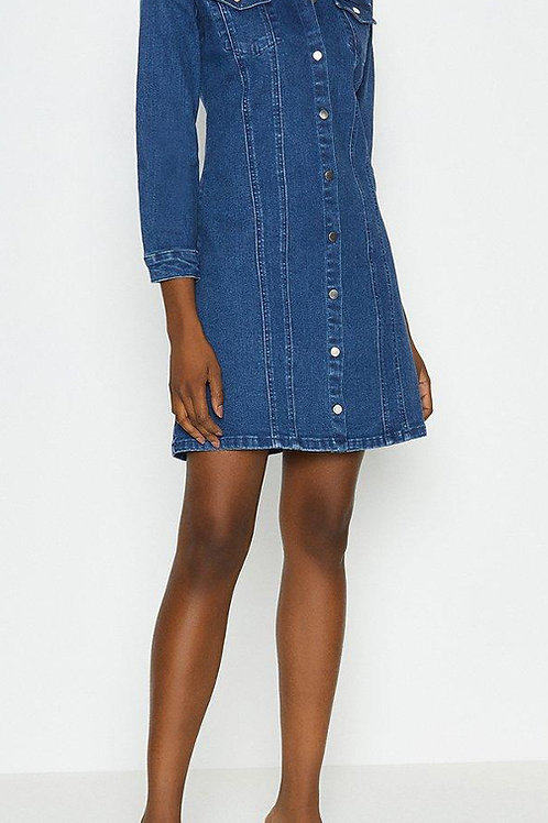 COAST Long Sleeve Button Through Denim Dress (RARE & COLLECTABLE)