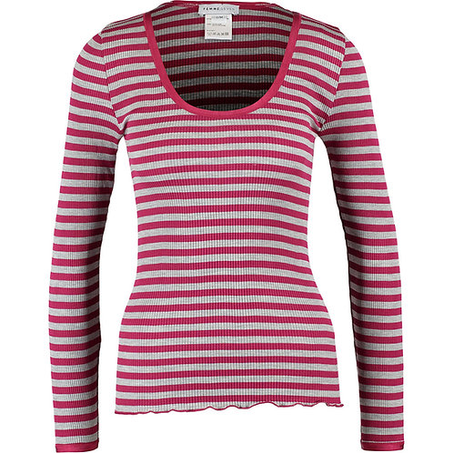 FEMME SEVEN Longsleeve Berlin EB Silk Blend Stripes Top FS502-PUR-L_XL (R & C)