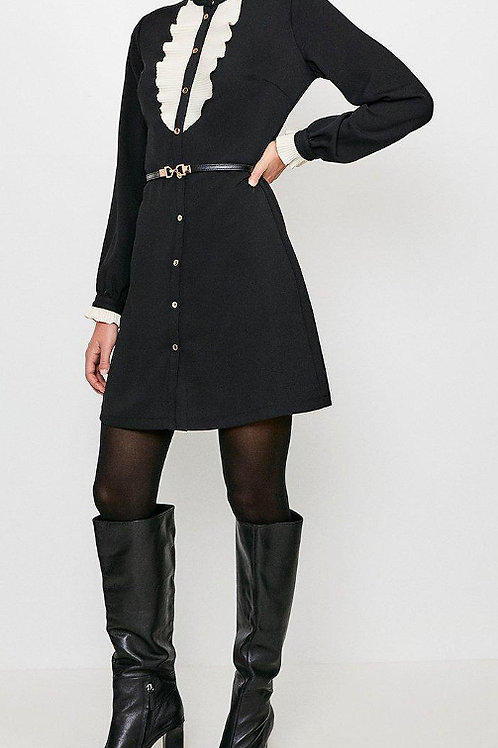 KAREN MILLEN Frill Bib Detail Short Dress(RARE & COLLECTABLE)