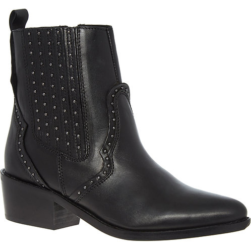 SACHA Leather Studded High Ankle Heel Boots