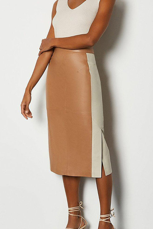 KAREN MILLEN Colourblock Leather Pencil Skirt (RARE & COLLECTABLE)