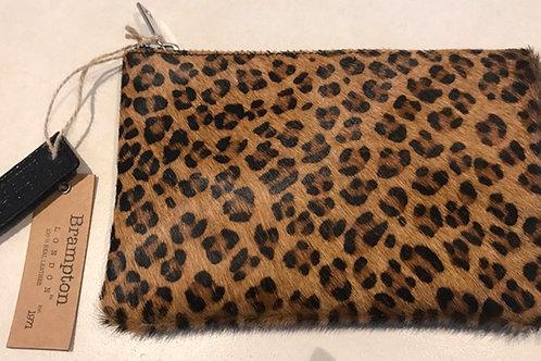 BRAMPTON LONDON Faux Leopard Print & Genuine Leather Clutch Bag