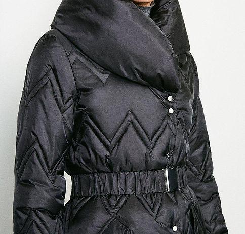 KAREN MILLEN Black Long Quilted Padded Collar Coat 2.jpg