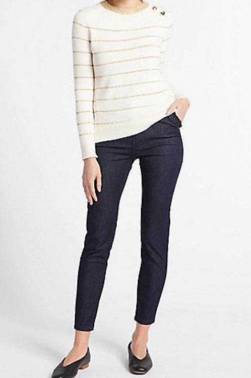 Marks & Spencer PER UNA Dark Indigo Frill Pocket Roma Rise Skinny Leg Jeans