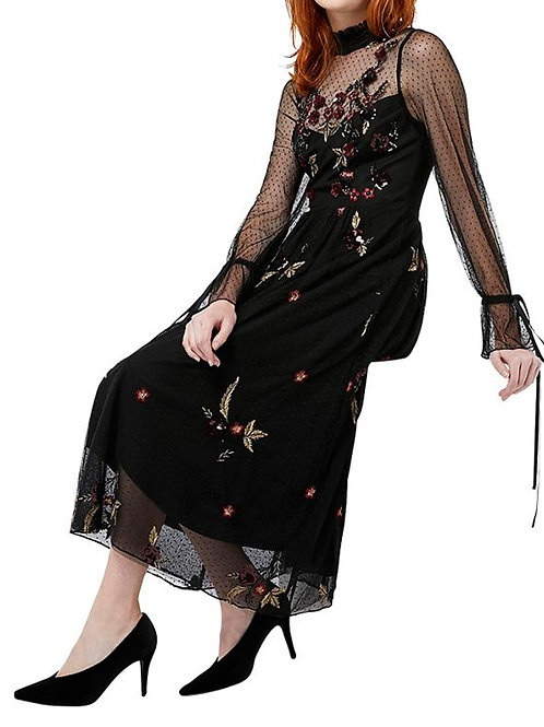 MONSOON Roco Embroidered Midi Dress (RARE & COLLECTABLE)