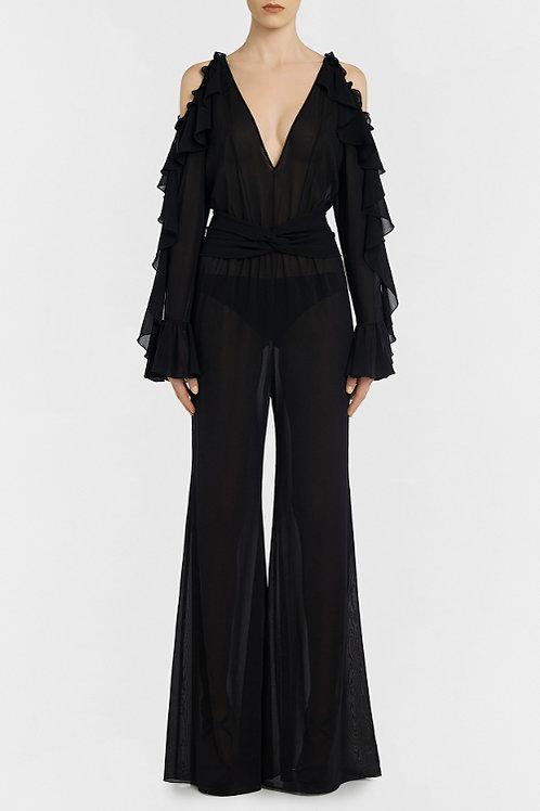 LA PERLA BEJEWELED Silk Flared Jumpsuit(RARE & COLLECTABLE)