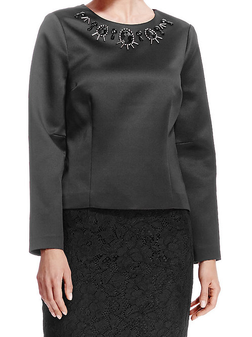 M&S AUTOGRAPH Bead Embellished Black Satin Blouse
