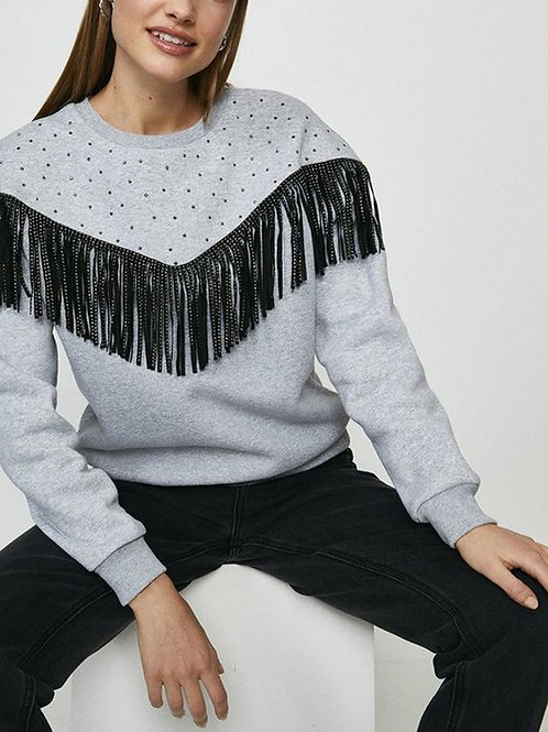 COAST Marl Fringe and Diamante Detail Sweatshirt (RARE & COLLECTABLE)