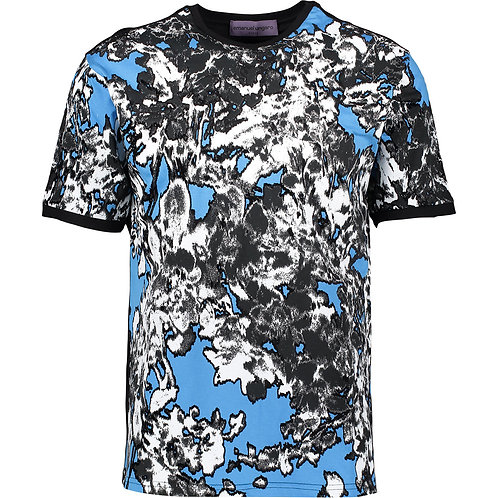 EMANUEL UNGARO PARIS Black & Blue Abstract Print T-Shirt (RARE & COLLECTABLE)