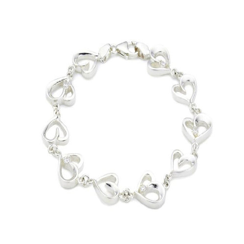 CHIC Silver Cubic Zirconia Heart Shaped Link Bracelet (RARE & COLLECTABLE)