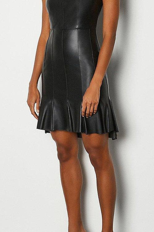 KAREN MILLEN Leather Dipped Panel Hem Dress(RARE & COLLECTABLE)