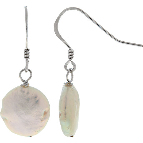 KYOTO PEARL Sterling Silver White Pearl Drop Earrings (RARE & COLLECTABLE)