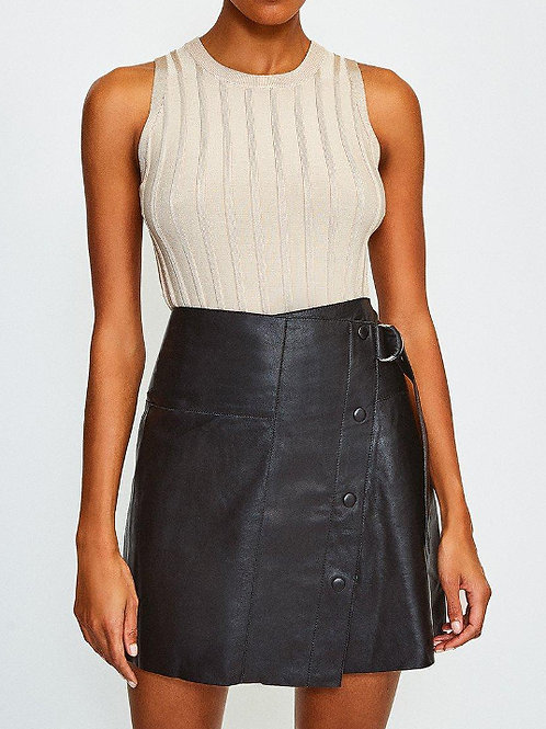 KAREN MILLEN Leather A Line Mini Skirt (RARE & COLLECTABLE)