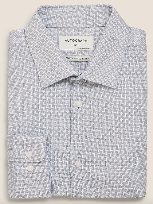 M&S by AUTOGRAPH Slim Fit Jersey Cotton Dogtooth Print Shirt T11/0725A