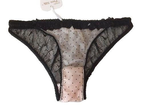 MIMI HOLLIDAY Silk Polka Dot Black Lace Brief (RARE & COLLECTABLE)