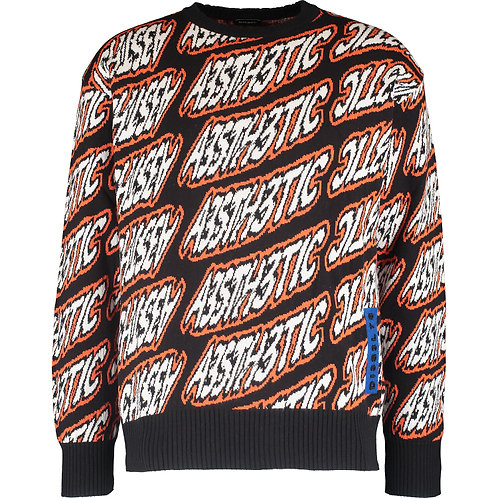 DIESEL Knit All Over Logo Crew Neck Jumper(RARE & COLLECTABLE)