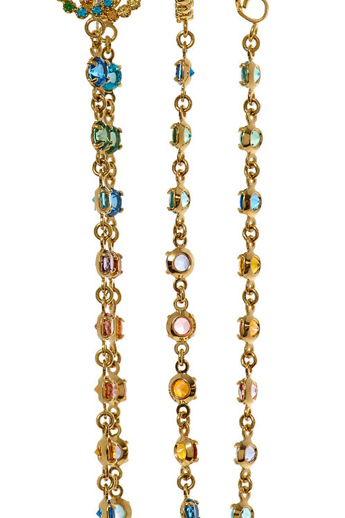 GUCCI Multicoloured Yellow Gold Chain Stone Earrings