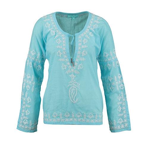 MELISSA ODABASH Sky Blue Embroidered Cora Artisan Tunic