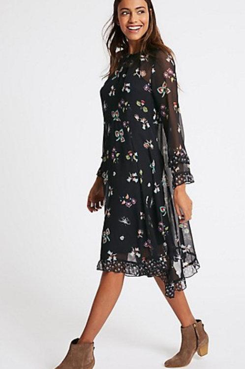 M&S COLLECTION Floral Print Hanky Hem Midi Dress