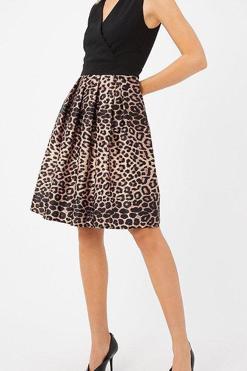 COAST Satin Leopard Contrast Skater Dress(RARE & COLLECTABLE)