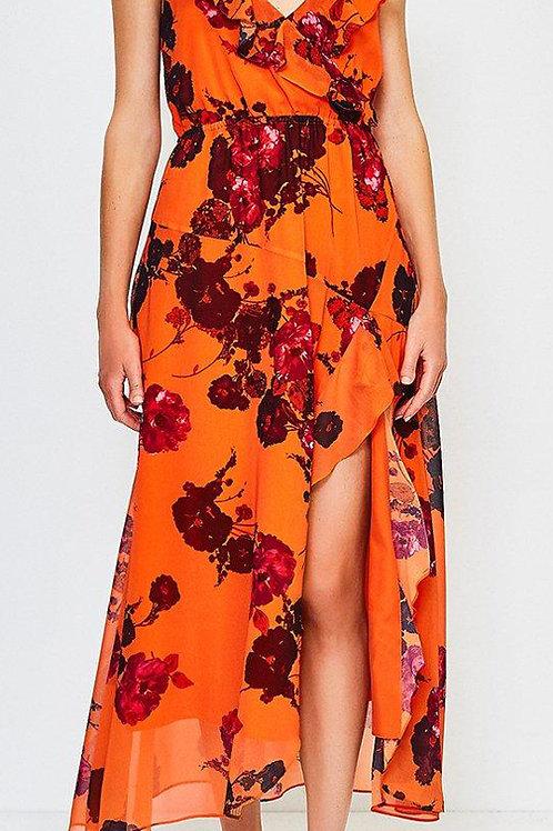 KAREN MILLEN Frill Print Maxi Dress(RARE & COLLECTABLE)