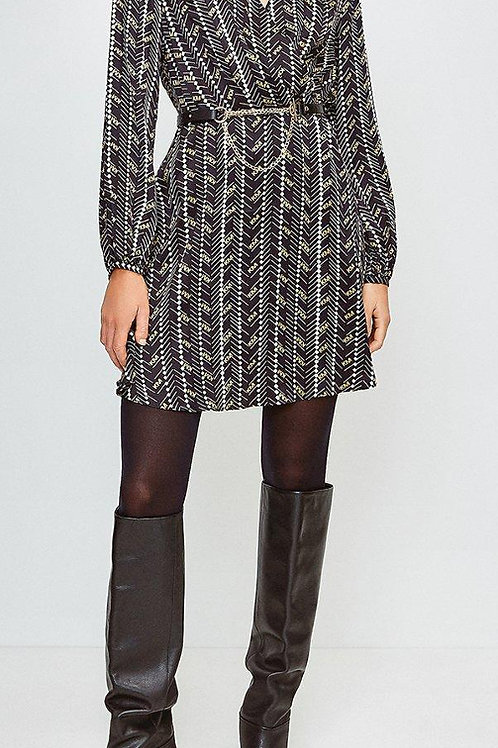 KAREN MILLEN Printed Silk Front Wrap Dress