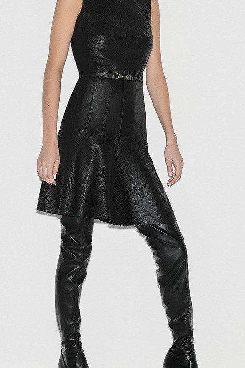 KAREN MILLEN Black Label Leather Panelled Belted Dress (RARE & COLLECTABLE)