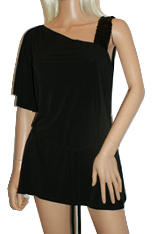 M&Co One Shoulder Sequined Strapped Black Mini Tunic