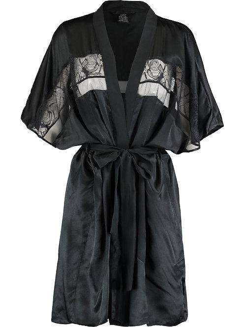 CALVIN KLEIN BLACK SLEEPWEAR Tenues de Nuit Silk Satin and Lace Robe (R&C)