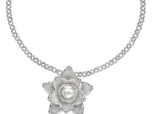 DOWER & HALL Orchid Silver Carved Freshwater Pearl Pendant on Belcher Chain(R&C)