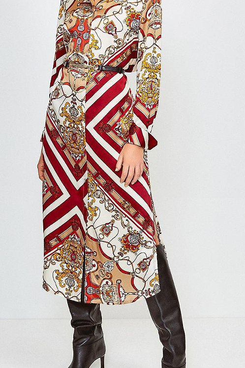 KAREN MILLEN Silk Baroque Style Printed Shirt Dress (RARE & COLLECTABLE)
