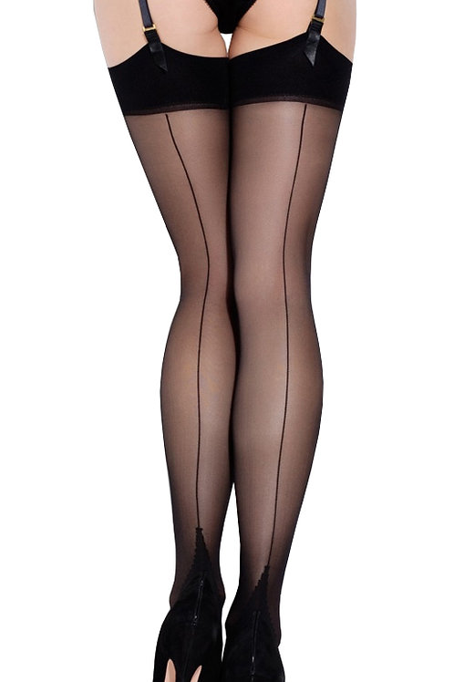 L'AGENT By AGENT PROVOCATEUR Seam & Heel Stockings (RARE & COLLECTABLE)