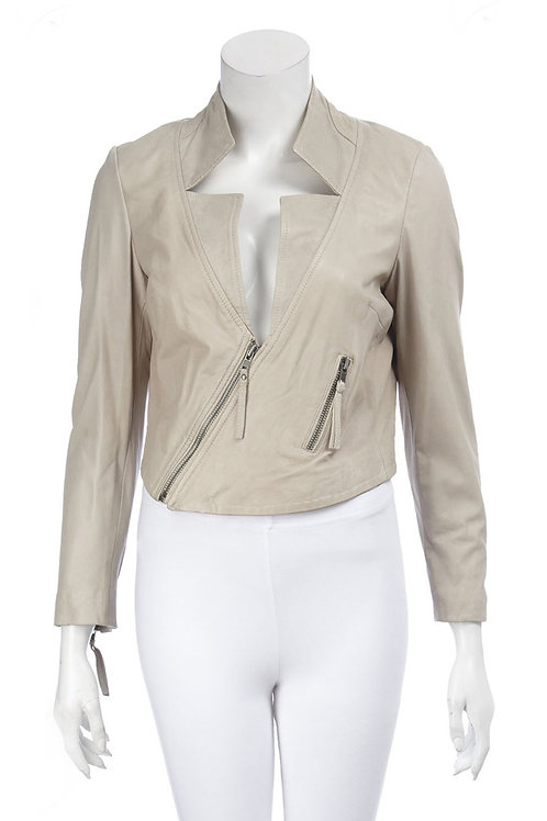 MUUBAA Tokyo Cream Lamb Leather Cropped Biker Jacket (RARE & COLLECTABLE)