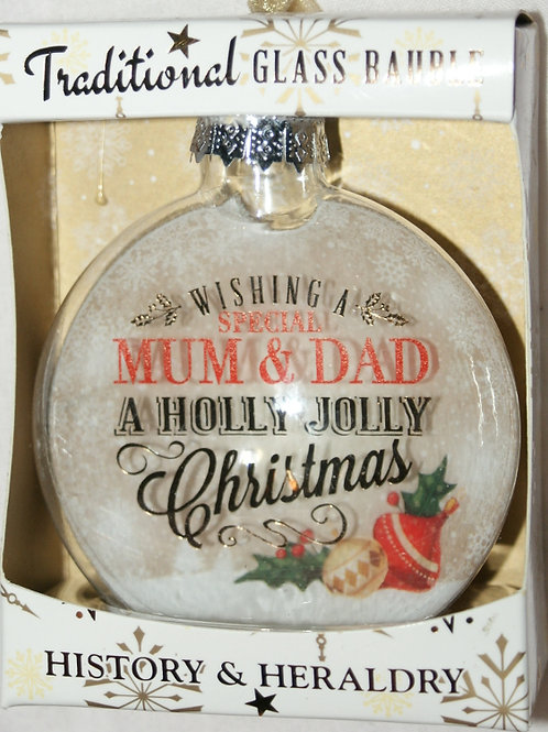 HISTORY & HERALDRY A Holly Jolly Christmas Glass Bauble