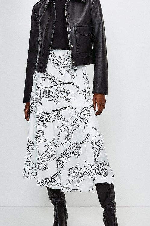 KAREN MILLEN Tiger Print Midi Skirt(RARE & COLLECTABLE)