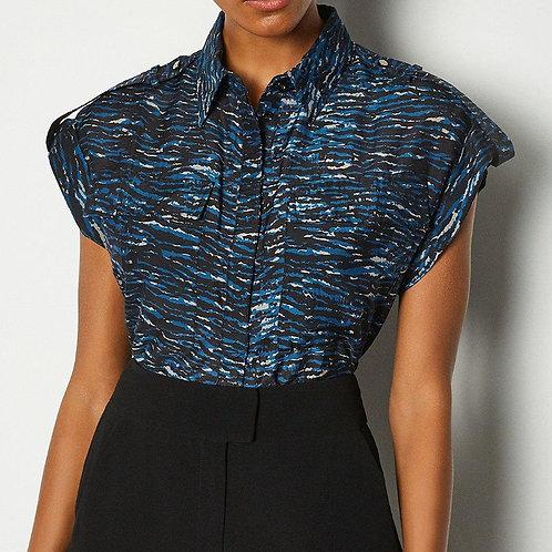 KAREN MILLEN Silk Sleeveless Printed Shirt(RARE & COLLECTABLE)