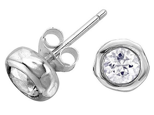 DOWER & HALL Dewdrop 5mm White Topaz Beaten Nugget Stud Earrings (RARE & COLL)