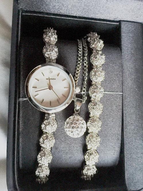 SEKONDA Ladies Silver Coloured Bracelet Watch Pendant on Chain Gift Set