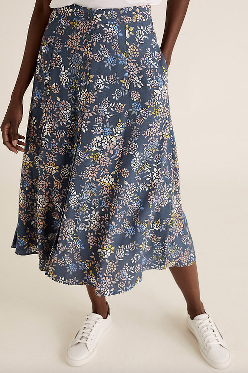 M&S COLLECTION Floral Button Front Midi A-Line Skirt T42/3423