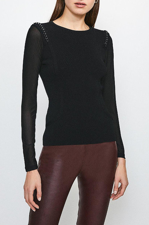 KAREN MILLEN Chain Shoulder Mesh Sleeve Knitted Top (RARE & COLLECTABLE)