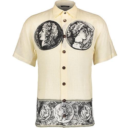 DOLCE & GABBANA Ivory Coin Motif Linen Shirt Size M (42) (RARE & COLLECTABLE)