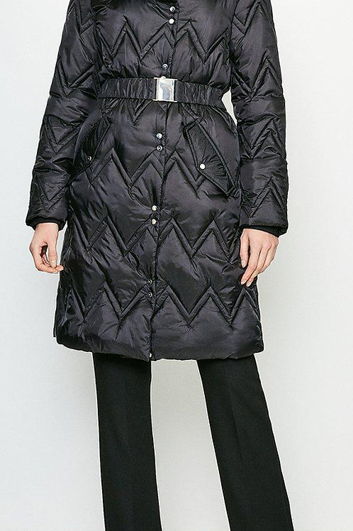 KAREN MILLEN Long Quilted Padded Collar Coat(RARE & COLLECTABLE)