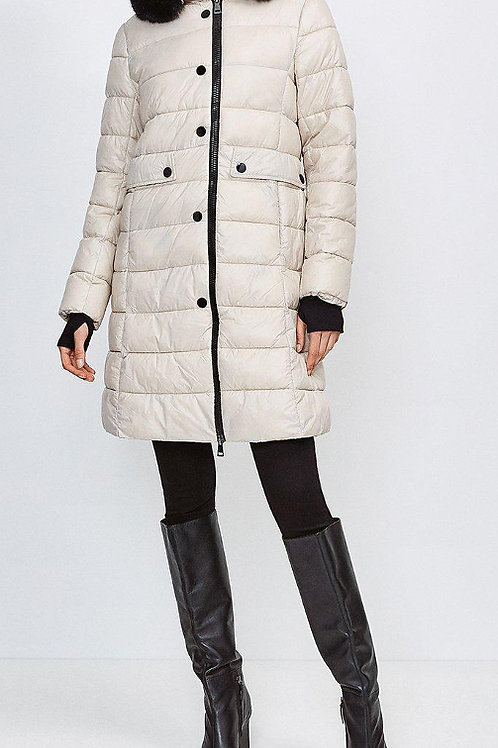 KAREN MILLEN Fur Trim Hood Lightweight Padded Coat(RARE & COLLECTABLE)