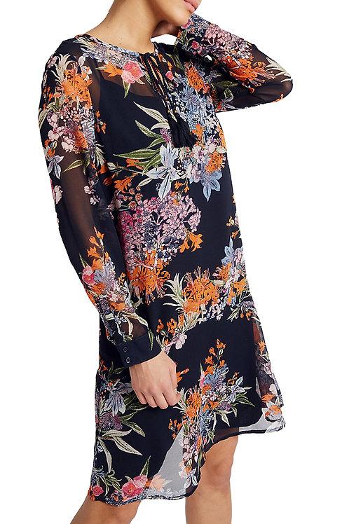 MARKS & SPENCER PER UNA Floral Print Long Sleeve Shift Dress T42/3183U