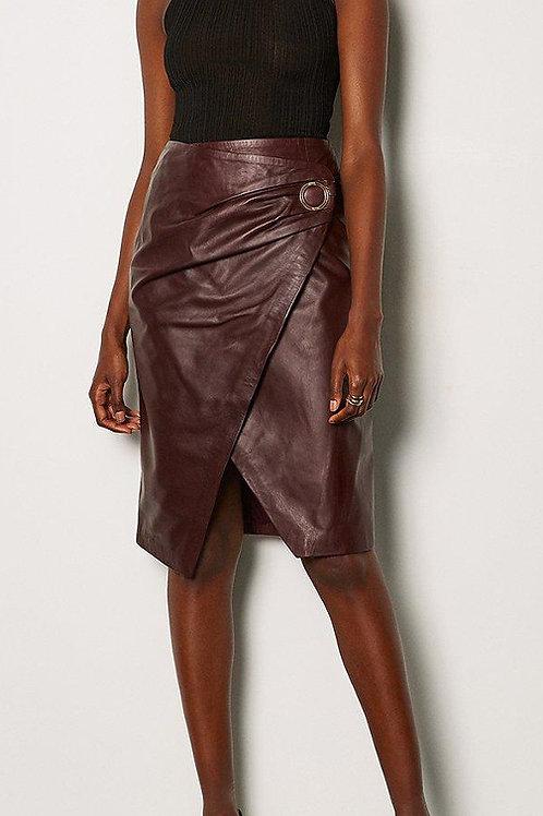KAREN MILLEN Leather Wrap Pencil Skirt(RARE & COLLECTABLE)