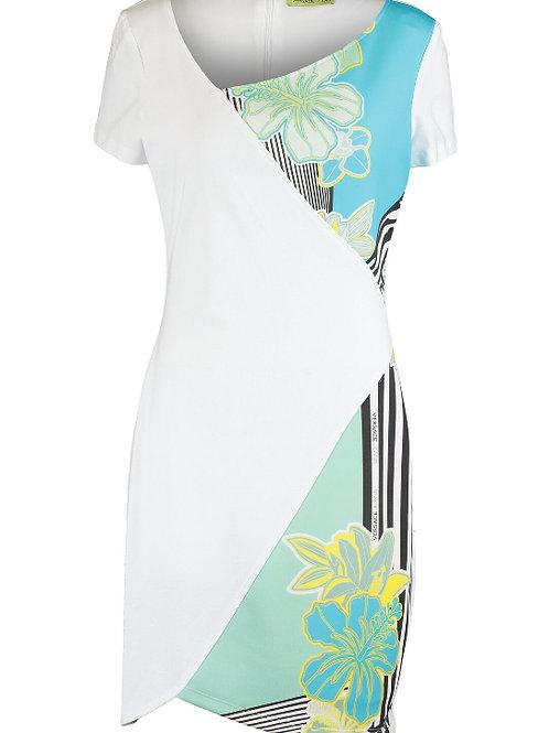 VERSACE JEANS Stripes & Flowers Print Midi Dress (RARE & COLLECTABLE)