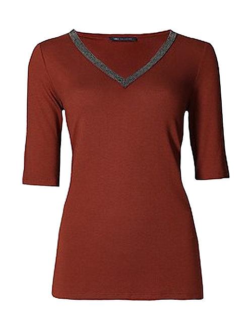 MARKS & SPENCER COLLECTION Embellished V-Neck Half Sleeve Jersey Top